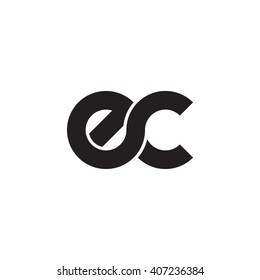 initial letter ec linked circle lowercase monogram logo black