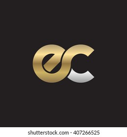initial letter ec linked circle lowercase logo gold silver black background