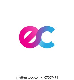 initial letter ec linked circle lowercase logo pink blue purple
