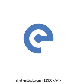 initial letter ec linked round lowercase logo blue