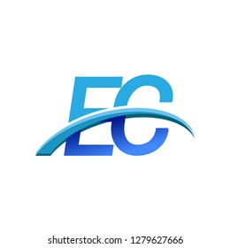 initial letter EC logotype company name colored blue and swoosh design. vector logo for business and company identity.