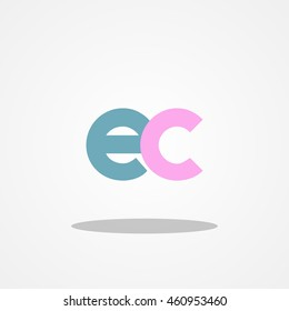 Initial letter EC lowercase logo design template blue pink