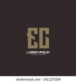 Initial letter EC minimalist art logo vector