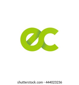 initial letter ec modern linked circle round lowercase logo green