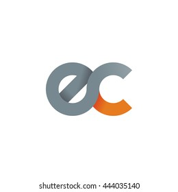 initial letter ec modern linked circle round lowercase logo orange gray
