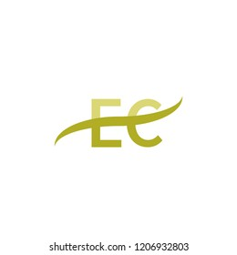 Initial letter EC, overlapping movement swoosh logo, green color on white background