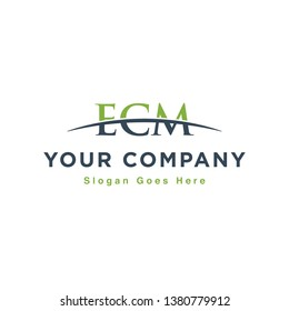 Initial letter ECM, overlapping movement swoosh horizon logo design inspiration in green and gray color vector