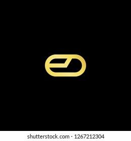 Initial letter ED DE EO OE minimalist art logo, gold color on black background.