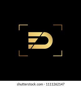 Initial letter ED DE FD DF minimalist art monogram shape logo, gold color on black background