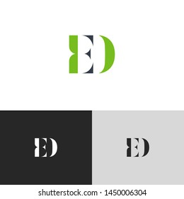 Initial Letter ed e d  uppercase modern logo design template elements. green letter Isolated on black white grey background. Suitable for business, consulting group company.