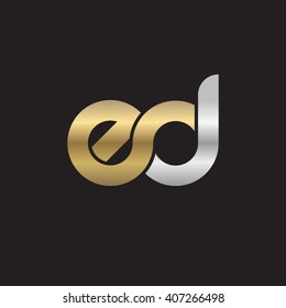 initial letter ed linked circle lowercase logo gold silver black background