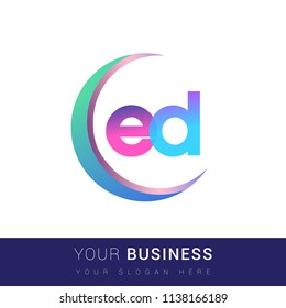 initial letter ED logotype company name, coloreful and swoosh design. vector logo for business and company identity.