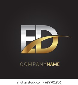 initial letter ED logotype company name colored gold and silver swoosh design. isolated on black background.