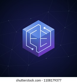 Initial letter EE, block chain, looping mono line circuit letter on hexagon cube logo, blue magenta gradient color on black blue network background