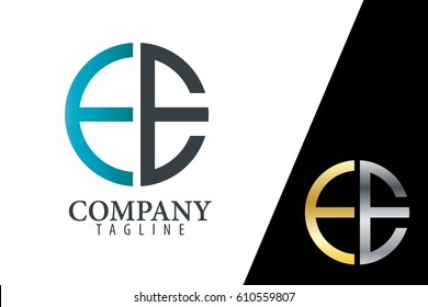 Initial Letter EE FE With Linked Circle Logo