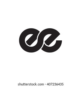 initial letter ee linked circle lowercase monogram logo black