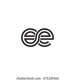 Initial letter ee, linked outline rounded lowercase, monogram black