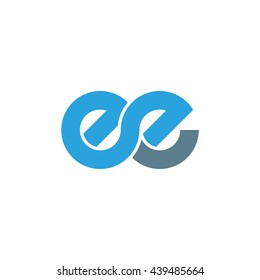 initial letter ee linked round lowercase logo blue