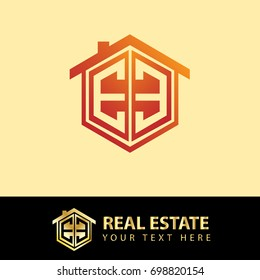 Initial Letter EE Logo, Hexagonal Shape for Real Estate Company with Orange Color