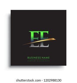 initial letter EE logotype company name colored green and gold swoosh design. vector logo for business and company