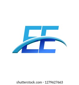 initial letter EE logotype company name colored blue and swoosh design. vector logo for business and company identity.