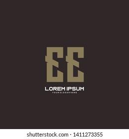 Initial letter EE minimalist art logo vector