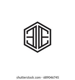 Initial letter EE, minimalist line art monogram hexagon logo, black color