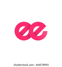 initial letter ee modern linked circle round lowercase logo pink