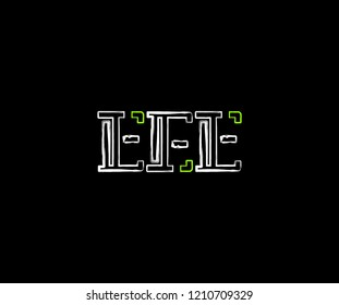 Initial Letter EEE Linear Grunge Brush Stroke Modern Logotype
