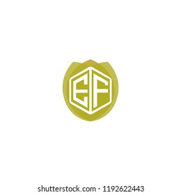 Initial Letter EF, E, F Logo Design with Leaf, Ecology, Nature, Organic Illustration for Company Identity Concept Design