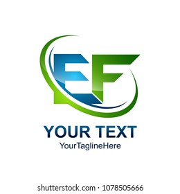 Initial letter EF logo template colored green blue swoosh design for business and company identity