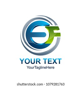 Initial letter EF logo template colored blue green circle swoosh design for business and company identity