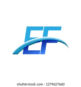 initial letter EF logotype company name colored blue and swoosh design. vector logo for business and company identity.