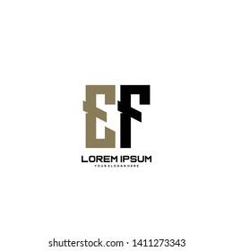 Initial letter EF minimalist art logo vector