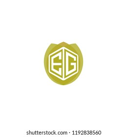 Initial Letter EG, E, G Hexagonal Shape Logo Design with Leaf, Eco, Nature, Organic Illustration for Company Identity