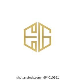 Initial letter EG, minimalist line art hexagon shape logo, gold color