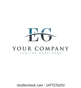 Initial letter EG, overlapping movement swoosh horizon logo company design inspiration in blue and gray color vector