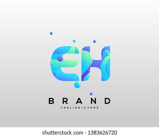 Initial letter EH logo with colorful background, letter combination logo design for creative industry, web, business and company. - Vector