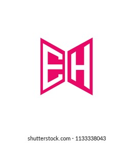 Initial Letter EH Logo Design, Hexagonal Shape in Flat Colored