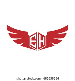 Initial Letter EH Logo, Hexagon Shape with Wings