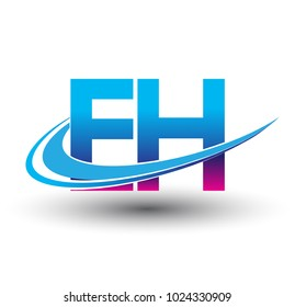 initial letter EH logotype company name colored blue and magenta swoosh design. vector logo for business and company identity.