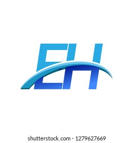 initial letter EH logotype company name colored blue and swoosh design. vector logo for business and company identity.