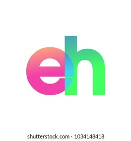 Initial Letter EH Lowercase Logo green, pink and Blue, Modern and Simple Logo Design.