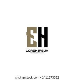 Initial letter EH minimalist art logo vector
