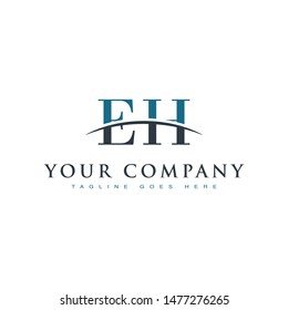Initial letter EH, overlapping movement swoosh horizon logo company design inspiration in blue and gray color vector