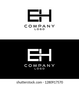 initial letter eh/he logotype company name design template vector