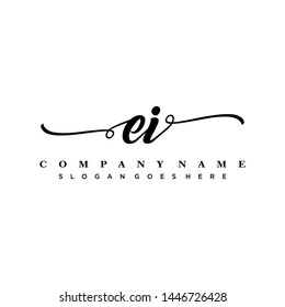 Initial letter EI beautiful handwriting logo vector template