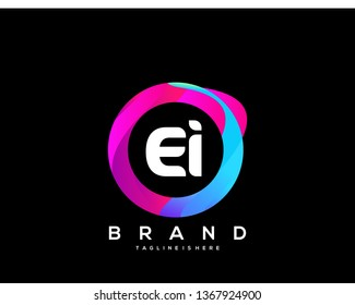 Initial letter EI logo with colorful circle background, letter combination logo design for creative industry, web, business and company. - Vector