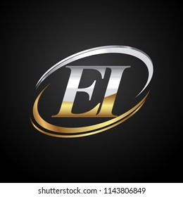 initial letter EI logotype company name colored gold and silver swoosh design. isolated on black background.