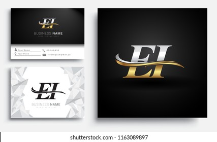 initial letter EI logotype company name colored gold and silver swoosh design. Vector sets for business identity on white background.